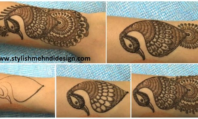 simple peacock mehndi design